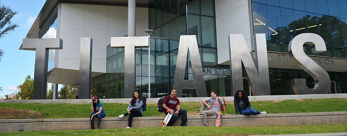 Students in front of the Titan Student Union