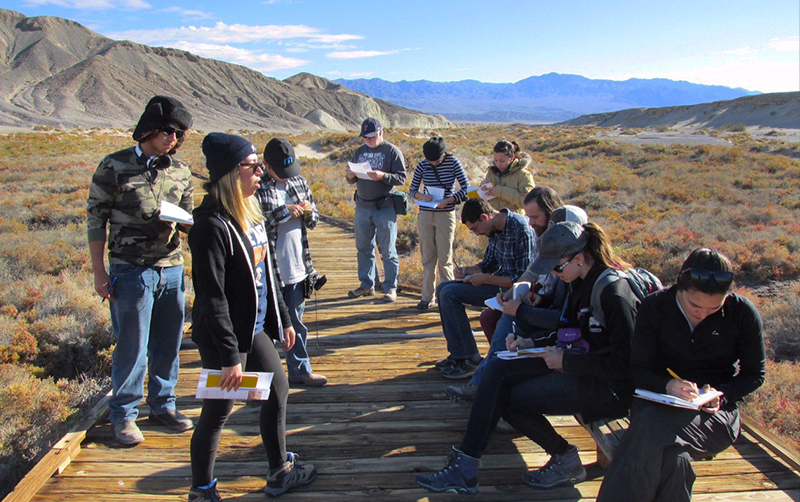 Cal State Fullerton students exploring Death Valley.