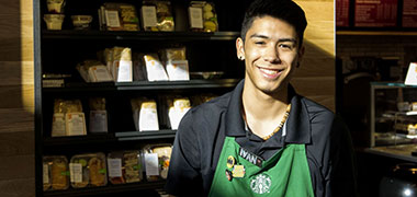 Student employee working at Starbucks