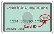 American Express with the location of the security code circled
