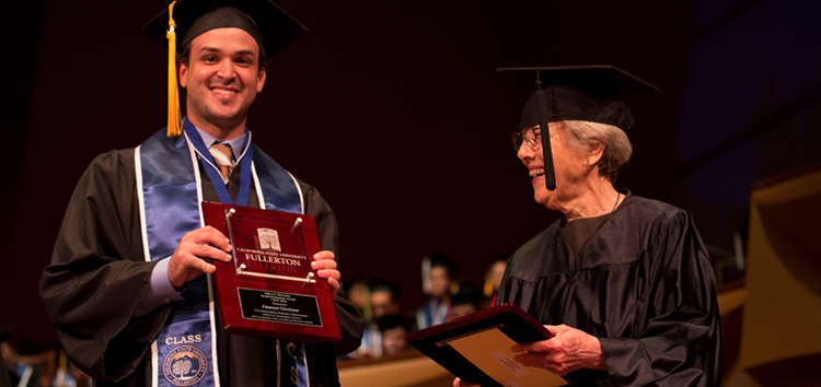 student received award at graduation