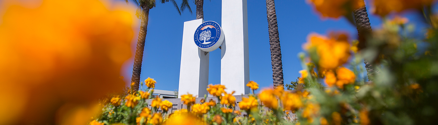 Flowers on Cal State Fullerton's campus