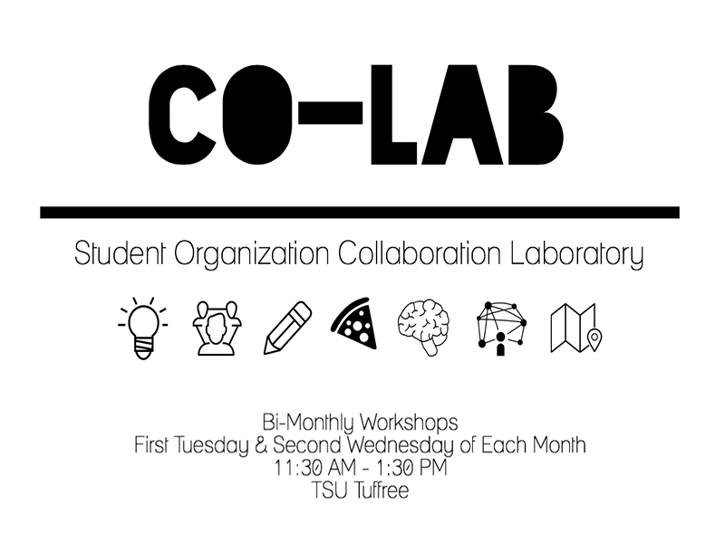 student org collaboration laboratory first tuesdays and second wednesdays during semester