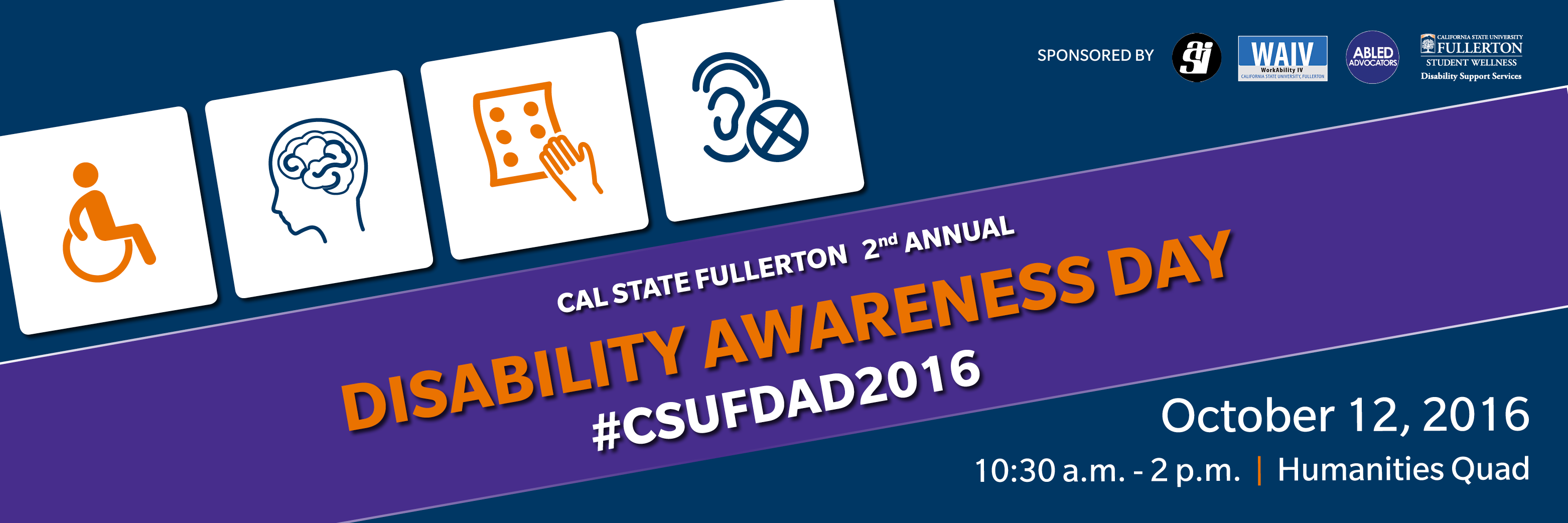 Disability Awareness Day October 12, 10:30 AM - 2 PM, Humanities Quad