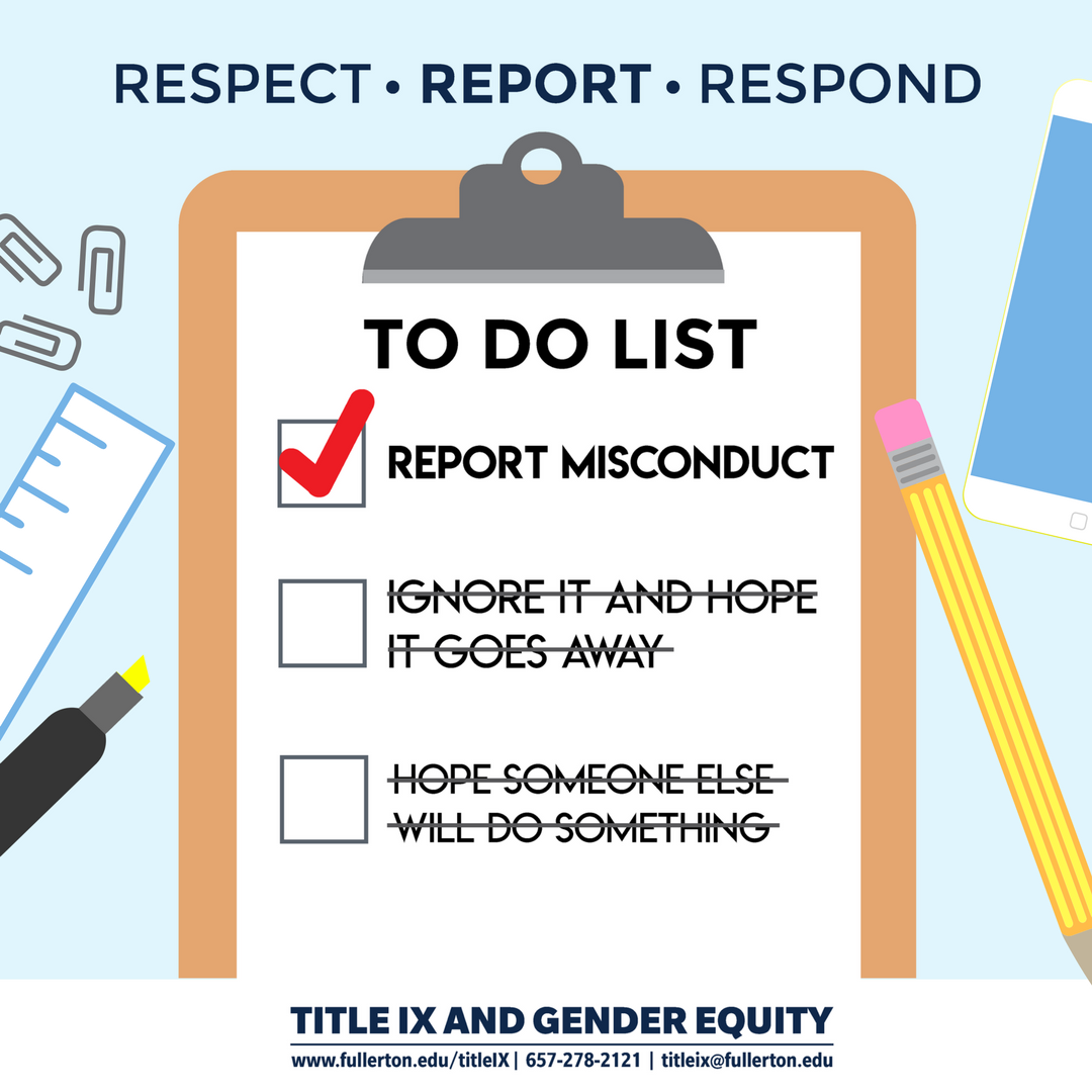 To do list: report misconduct