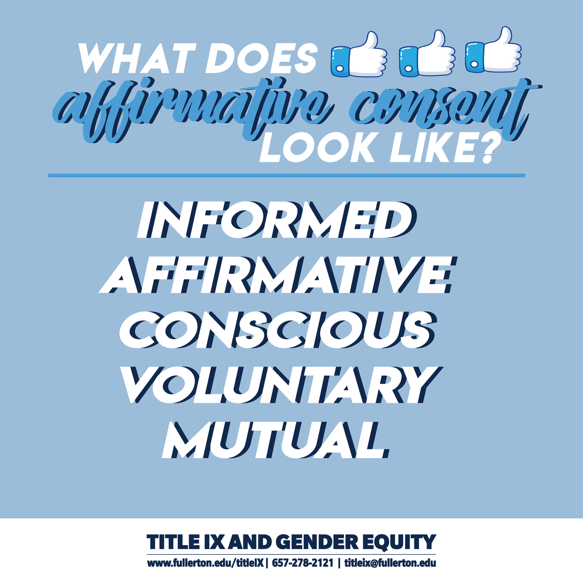 What does Affirmative Consent look like?  Informed, affirmative, conscious, voluntary, mutual