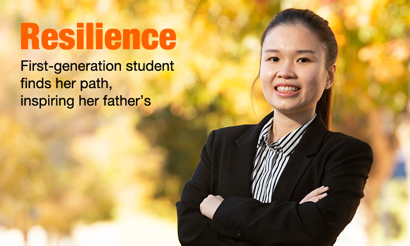 Resilience. First-generation student finds her path, inspiring her father's