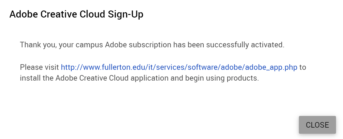 Activate Adobe Creative Cloud - Division of Information